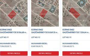 Enez'de Çevre ve Şehircilik Bakanlığı Arsaları Satıyor
